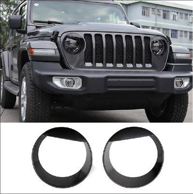 $33.95 • Buy For 2020 Jeep Gladiator Piano Black Angry Bird Headlight Cover Bezels Trim 2pcs