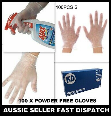 AU9.93 • Buy 100x Clear Vinyl Disposable Gloves Powder Free Medical Rubber Free Protective AU