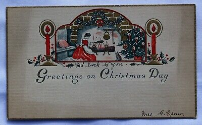 $ CDN3.75 • Buy Vintage Card; Greetings On Christmas Day; Lady Sitting At Fireplace