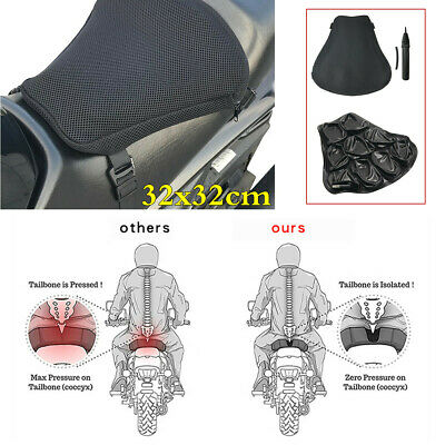 Motorcycle 3D Mesh Cloth Seat Cover Pressure Relief Inflatable Air Pad Pump Kit • 28.70£