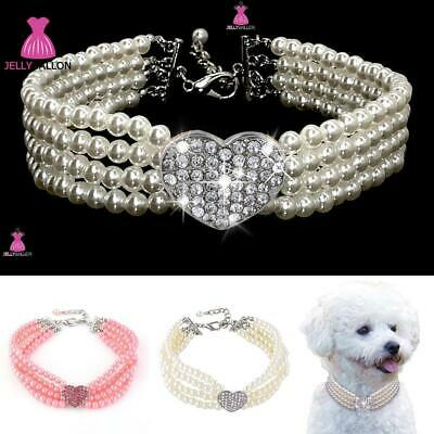 £4.29 • Buy Bling Rhinestone Dog Collars Small Pet Puppy Diamond Pearl Necklace Chihuahua