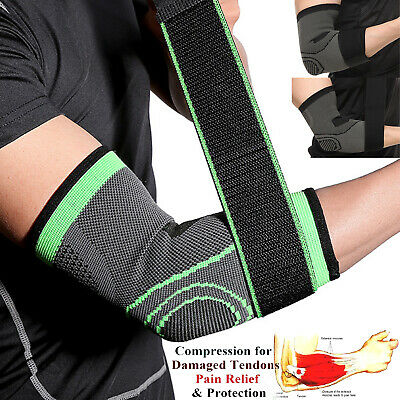 Copper Elbow Support Arm Compression Sleeve Strap Arthritis Brace Tennis Golfers • 5.99£