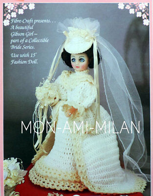 Crochet Pattern WEDDING DRESS Bridal Outfit BRIDE 15  Fashion Doll Dolly Clothes • 2.99£