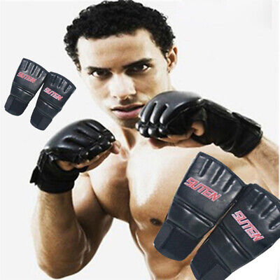AU20.99 • Buy PU Leather MMA Muay Thai Training Punching Bag Mitts Sparring Boxing Gloves Gym