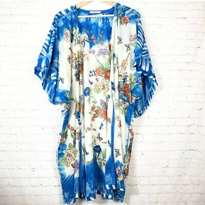 $64.99 • Buy Johnny Was Blue White Cotton Butterfly Kimono Floral Short Sleeve Size Small