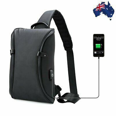AU39.99 • Buy Waterproof Men's Shoulder Bag Chest Sling Travel Bags USB Port Daily Rucksack