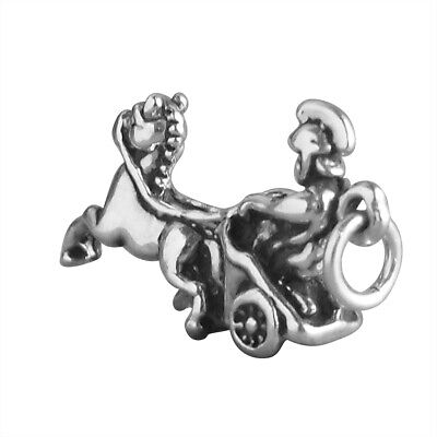 Roman Chariot Charm .925 Sterling Silver Horse Soldier • 10.99£