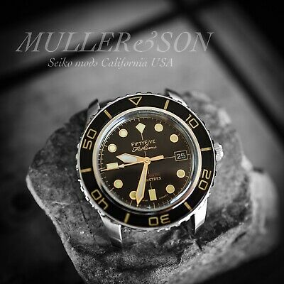 $ CDN412.62 • Buy Müller&Son Watch  Gold Mod 1 W/ Date  Made From Seiko SNZH57 Fifty Five Fathoms