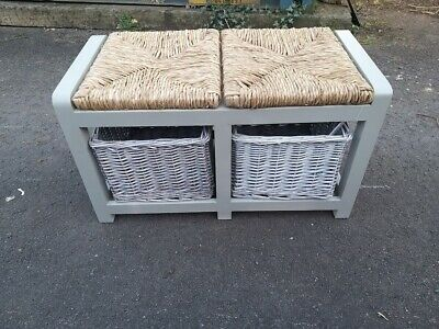 Grey Storage Bench With 2 Willow Baskets - Hall Seating Storing Solution • 99£