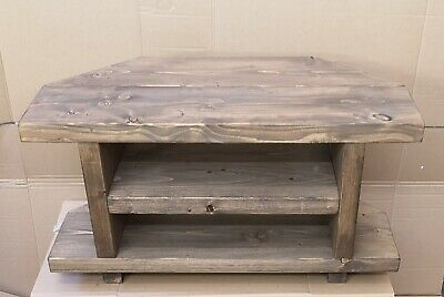 £59.99 • Buy Corner Chunky Rustic StyleTable/ TV Stand,Console Unit Handmade Solid Wood 80 Cm