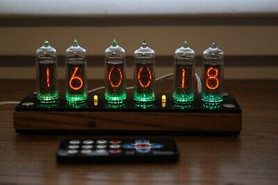 Nixie Tube Clock || Include IN-14 Tubes And Wooden Oak Enclosure And Black Cover • 129.52£