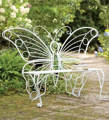 $149.95 • Buy Indoor/Outdoor Metal Butterfly Garden Bench In White