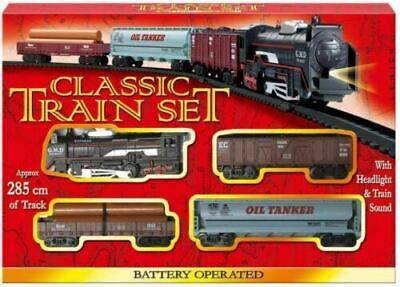 Classic Train Set Tracks Kids Toy Battery Operated Tanker Carriage Engine Lights • 9.25£