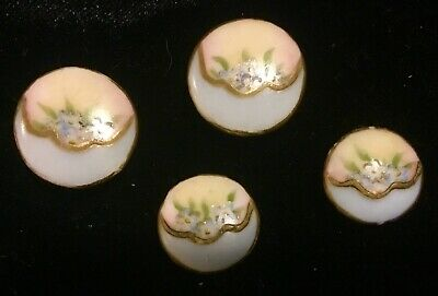 $19.99 • Buy 4 Antique Hand Painted Floral Porcelain Stud Buttons 2 Large 2 Small Limoges?