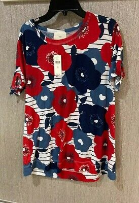 """$ CDN59.23 • Buy Anthropologie T.la """"Rose/Tyrie"""" Red White Blue Floral Striped T Shirt NWT M $68"""