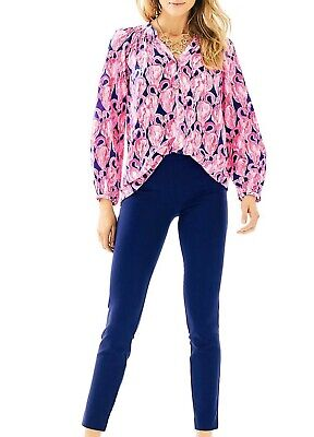 $18 • Buy Lilly Pulitzer Alessia Stretch Dinner Pants Womens Size 4 Small Blue NWT NEW
