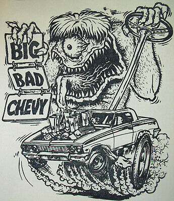 $ CDN12.07 • Buy Big Bad Chevy 62 Chevy Impala Rat Fink Style  Vintage 70's T-Shirt Transfer  NOS