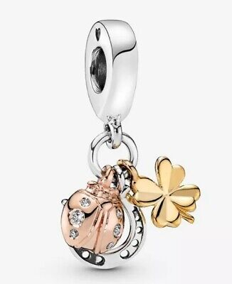 💎🎀 Sterling Silver 925 Lucky Horseshoe Clover & Ladybird Dangle Charm & Pouch • 17.99£