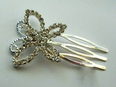 Art Deco Beautiful Vintage Style Full Crystal SMALL BUTTERFLY Hair Comb.   • 4£