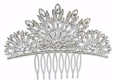 Beautiful Quality Vintage Style Full Crystal Silver Plated Art Deco Hair Comb.   • 8£