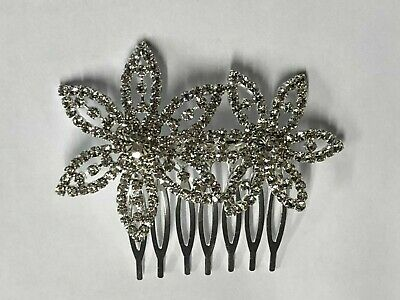 £7 • Buy Art Deco Beautiful Quality Vintage Style Full Crystal Double Flower Hair Comb.
