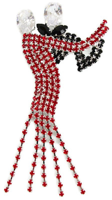 Simply Beautiful  Couple Dancing  Diamante Crystal Brooch In Jet And Red.  • 9£