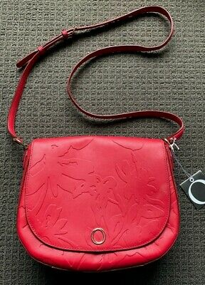 AU119.99 • Buy NWT OROTON Red Embossed Leather Metier Satchel/Crossbody Bag $399 NEW