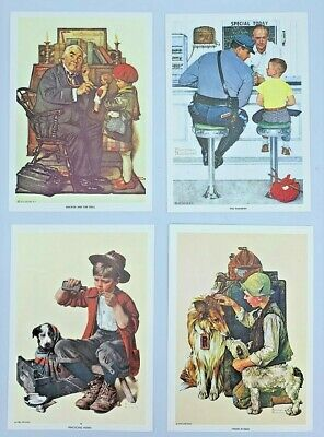 $ CDN25 • Buy SET OF 4 Norman Rockwell VINTAGE Lithograph Prints 5 X7  - 1972