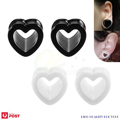 AU7.99 • Buy Ear Piercing Tunnels Heart Plug Stretcher Expander Acrylic Body Jewellery 3-25mm