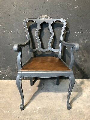 Vintage French Carver Occasional Chair/ Painted Shabby Chic Style (VB366) • 85£