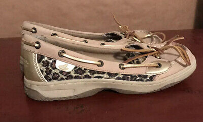 $15.38 • Buy Sperry Sequin Leapord Tan Leather Angelfish Boat Shoes Loafer Women's 4.5 M