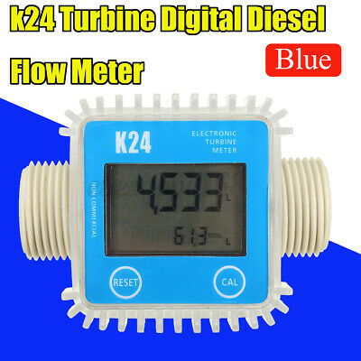 K24 LCD Turbine Digital Fuel Flow Meter Gauge Diesel Kerosene Chemicals Water UK • 23.47£