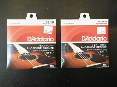 $ CDN33 • Buy 2 Sets Of Acoustic Guitar Strings D'Addario EFT17 Flat Tops