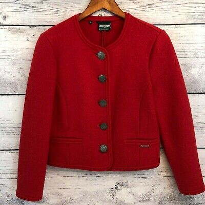 $59.99 • Buy Geiger Red Boiled Wool Jacket Womens 36 US 6 Made In Austria Pewter Buttons