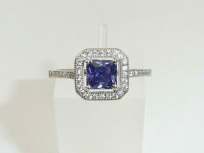 Hand Made Ladies 925 Sterling Silver Princess Cut Tanzanite White Sapphire Ring • 27.85£