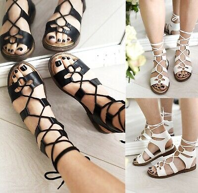 £14.95 • Buy Ladies Womens Flat Lace Up Summer Rope Wraparound Tie Gladiator Sandals Size 3-8