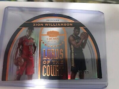 $95 • Buy Zion Williamson #7/99 Crown Royale Lords Of The Court Die Cut Rookie Card