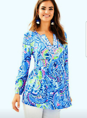 $59.99 • Buy LILLY PULITZER Sz L LARGE Lyndsea Tunic Pinch NWT $128 Blue Embroidered Lobster