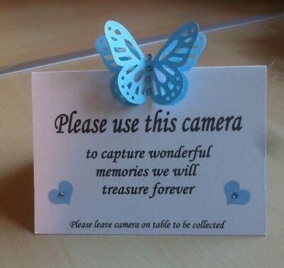 12 Handmade 3D Butterfly Wedding Table Camera Cards • 4.49£
