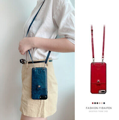 AU9.17 • Buy For IPhone 11 Pro Max Handbag Leather Case Card Holder Cover With Lanyard Strap