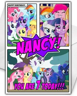 MY LITTLE PONY Personalised Birthday Card - Large A5 - My Little Pony Birthday • 2.99£