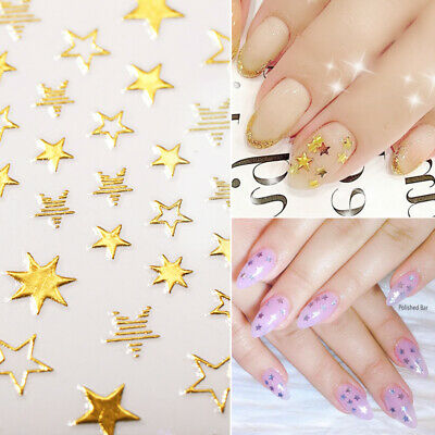 £1.19 • Buy 3D Nail Stickers Rose Gold Silver Star Series Transfer Decals Nail Art Decors