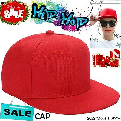 Baseball Cap Red Plain Classic Retro Hip Hop Flat Peak Snapback Adjustable Hat • 2.79£
