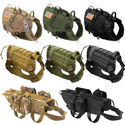 AU36.99 • Buy Tactical Military Large K9 Dogs Harness MOLLE Training Vest With Pouch Patches