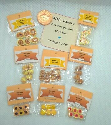 £10 • Buy Dolls House Food 5 Miniature Bags Of Assorted Pastries 1/12 Scale  Handmade