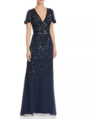 $129.99 • Buy Aidan Mattox Embellished Flutter-Sleeve Gown $495 Size 12 # 4NA 99 New