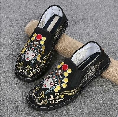 Chinese Retro Women's Flat Heel Loafers Embroidery Slip On Boat Shoes Sandals • 20.99£