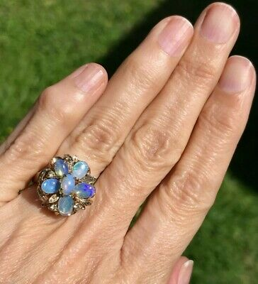 $299 • Buy SG MERMAID Australian Purple Lavender Crystal Opal Ring. Flower **VIDEO**--K2L7J