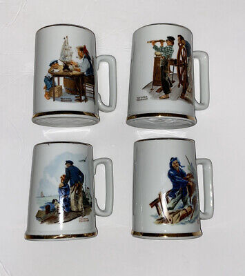 $ CDN42.32 • Buy Norman Rockwell Museum Collection 1985 Coffee Mugs Cups Gold Trim Set Of 4