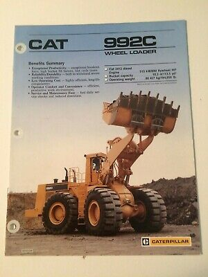 AU32.17 • Buy Caterpillar CAT 992C Front End Wheel Loader Tractor Brochure 10 Pg. Original '86